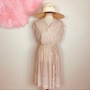 Vtg 70s boho Vibes Robe Belt Midi Dress S M